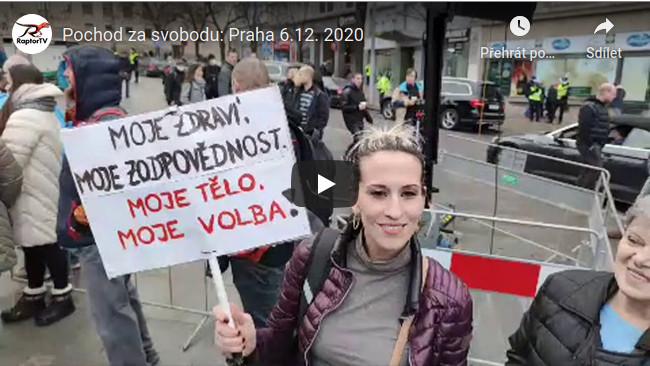 demonstrace - pochod za svobodu Václavské náměstí 6.12.2020 projev iniciativy Vraťme děti do školy