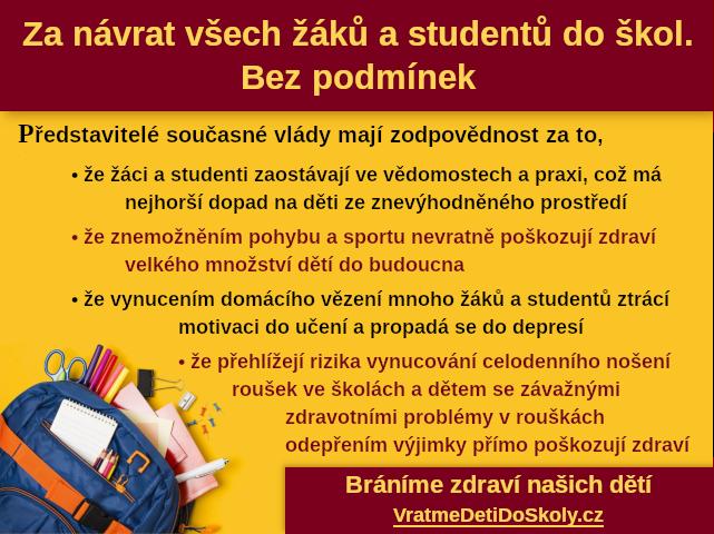 Za návrat všech žáků a studentů do škol. Bez podmínek - iniciativa Vratme děti do školy